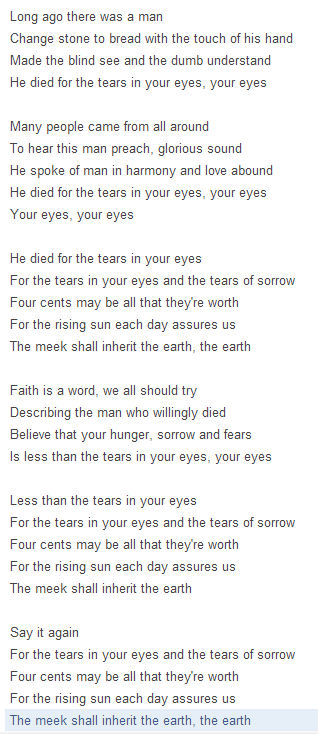 4 The Tears In Your Eyes Lyrics