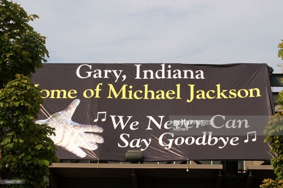 Banner located at the Railcats Stadium in Gary Indiana, on the day of the Memorial Celebration sponsored by the city of Gary as a tribute to Michael Jackson.